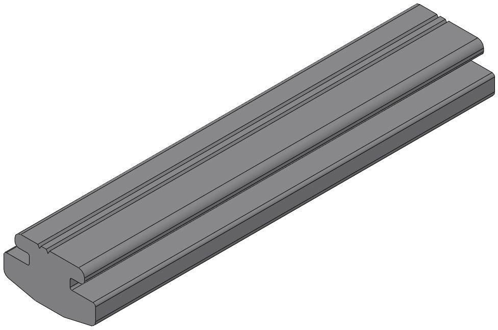 Rubber strip profile, grey